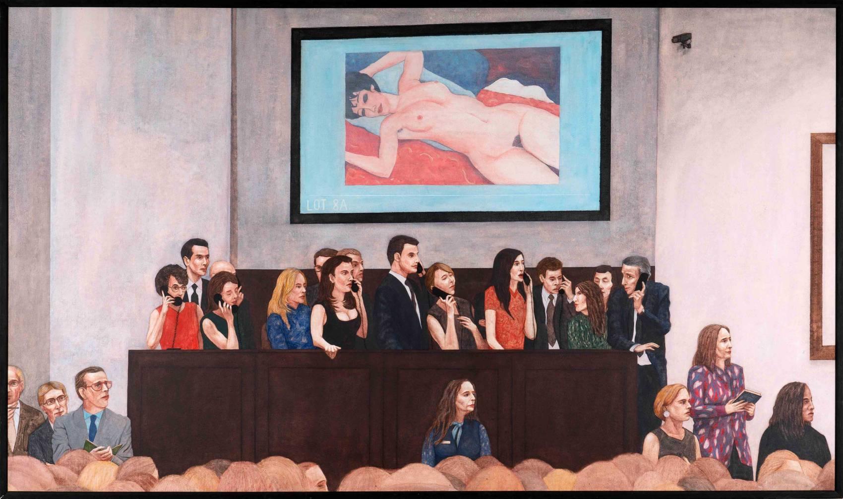 Sothebys oder so, 2017-2018. Pastell und Acryl auf Leinwand. 110 x 185 cm. Privatbesitz. Foto: Phillip Hiersemann