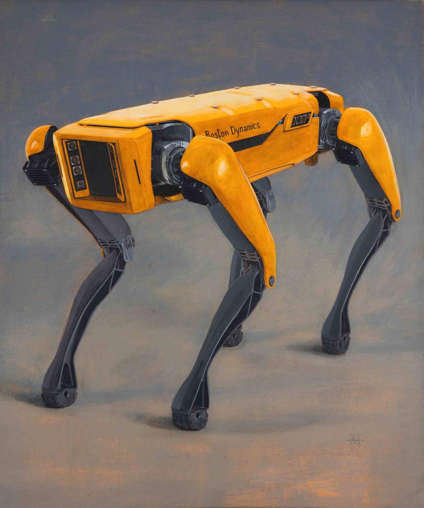 Boston Dynamics, 2020. Acryl auf Leinwand. 110 x 92 cm. Foto: Phillip Hiersemann