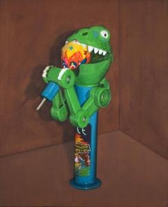 Dino Chomper - Der Lutscher-Dino, 2020. Acryl auf Leinwand. 110 x 92 cmFoto: Phillip Hiersemann